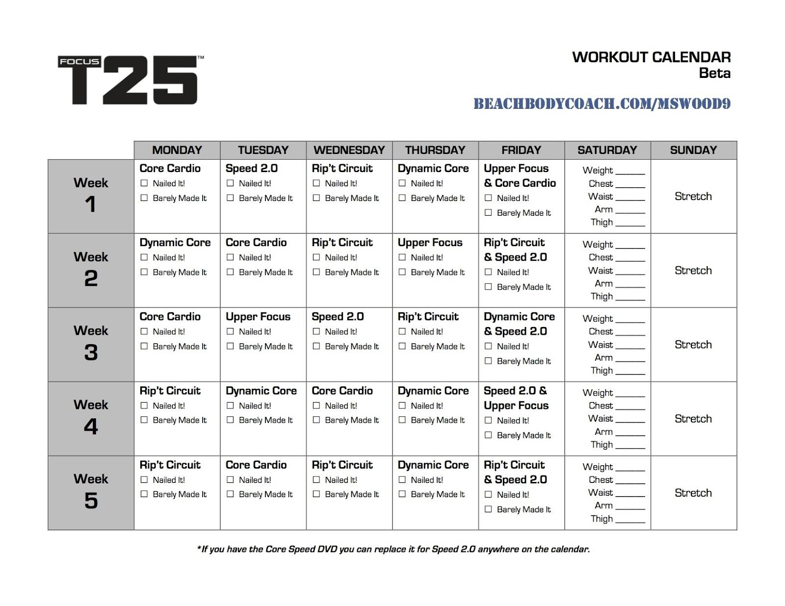 Alpha T25 Calendar...