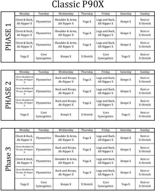 Kalendarz - P90X Classic